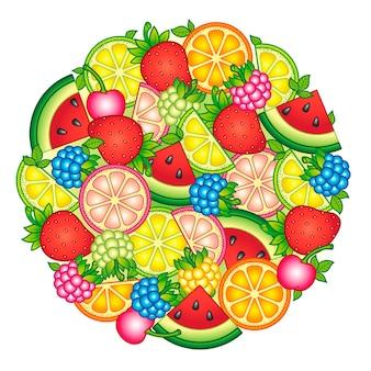 Disegni di frutta disposti in una forma rotonda isolata su sfondo bianco illustrazione