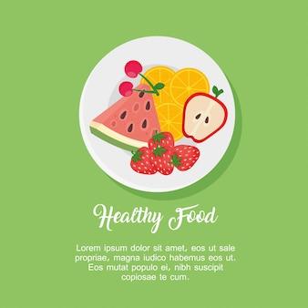 Frutta nel piatto, disegno di illustrazione vettoriale di concetto di cibo sano