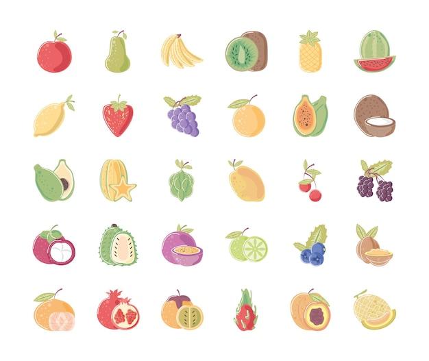 La raccolta delle icone di nutrizione dell'alimento fresco della frutta include l'illustrazione del mandarino dell'ananas dell'arancia della pera della mela