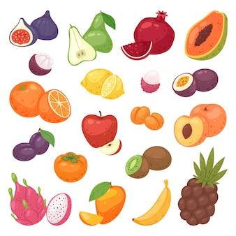 Frutta fruttata mela banana e papaia esotica con fette fresche di dragonfruit tropicale o succosa illustrazione arancione set fruttuoso isolato su sfondo bianco