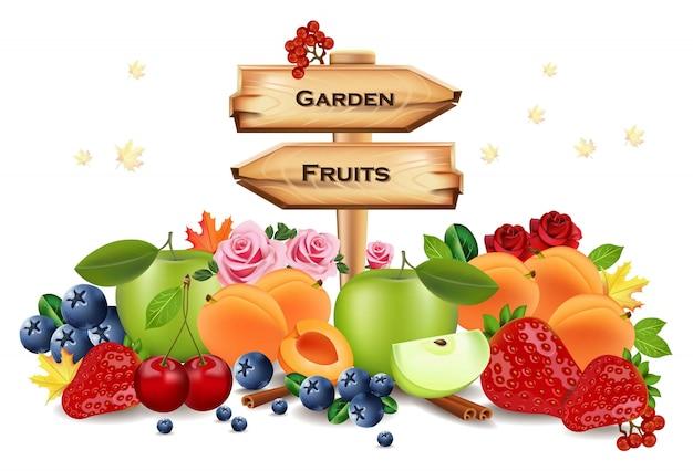 Raccolta raccolta di frutta realistica con segno di legno