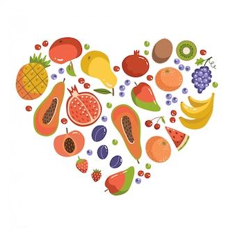 Frutti a forma di cuore. set di icone di frutta che formano a forma di cuore. elementi alimentari vegetariani. illustrazione piana del fumetto sano.