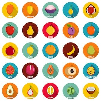 Set di icone di frutta. un'illustrazione piana di un cerchio delle icone di 25 frutti vector isolato su bianco