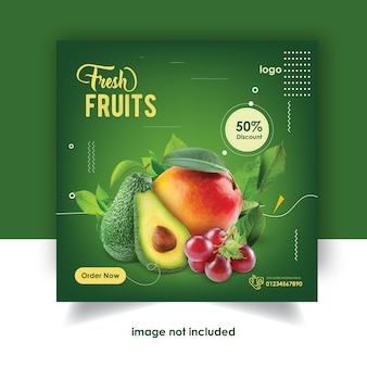Modello di disegno di frutta instagram post