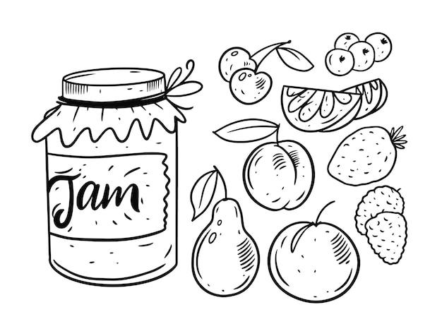 Marmellata di frutta in jarset isolato su bianco