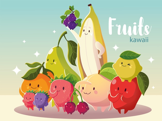 Frutta kawaii divertente carino banana mela pera pesca arancia ciliegia e limone