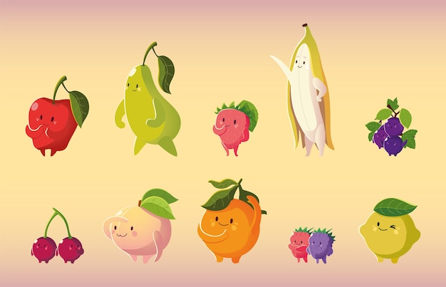 Frutta kawaii faccia buffa cartone animato mela ciliegia limone arancia pesca pera e banana