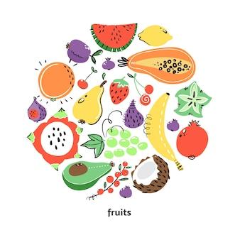 Frutta in composizione rotonda per il tuo design