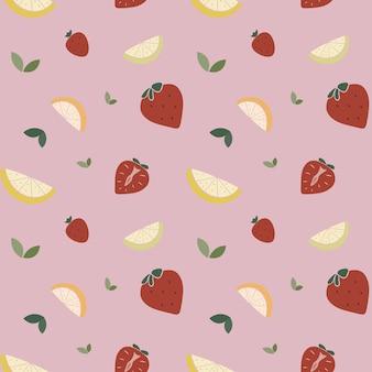 Frutti seamless pattern stampa estiva alla moda con fragola arancia limone in stile piatto