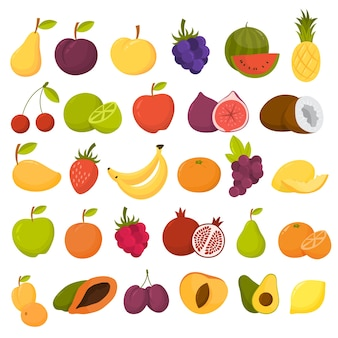 Set di frutta. alimento biologico ricco di vitamina Vettore Premium