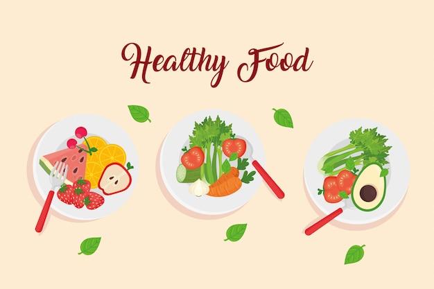 Frutta e verdura in piatti, disegno di illustrazione vettoriale di concetto di cibo sano
