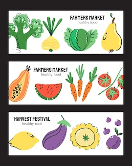Insieme della bandiera disegnata a mano di frutta e verdura. pasto sano, dieta, nutrizione o stile di vita.