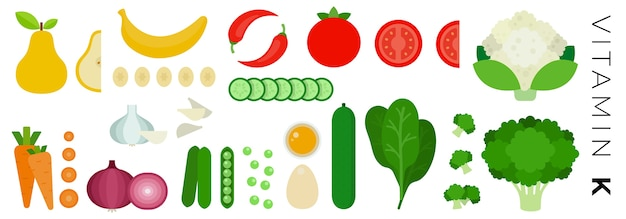 Frutta e verdura isolate su bianco