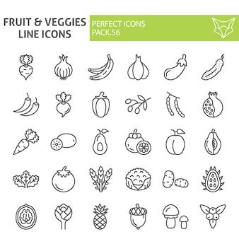 Insieme dell'icona di linea di frutta e verdura, raccolta di cibo
