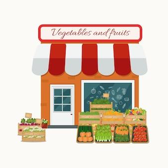 Negozio di frutta e verdura. piatto.