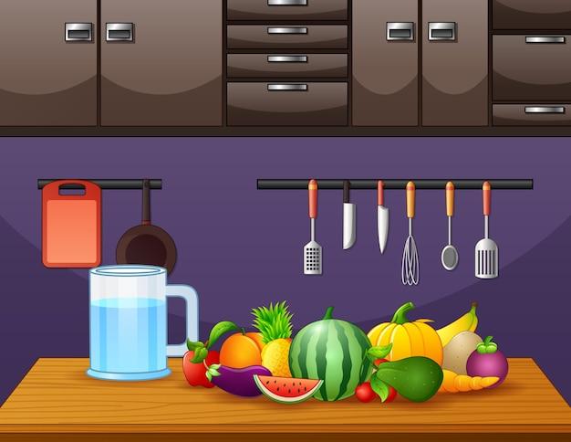 Frutta su un tavolo di legno in cucina illustrazione