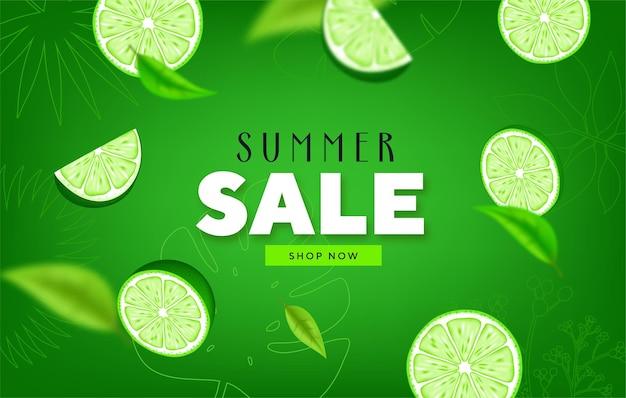 Saldi estivi fruttati striscioni colorati con lime, frutta tropicale al limone Vettore Premium