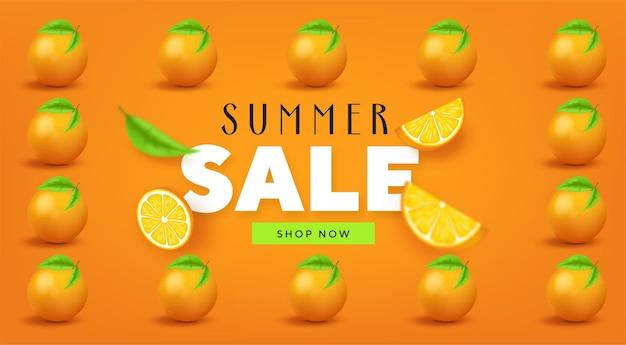 Saldi estivi fruttati striscioni colorati con frutti tropicali arancioni Vettore Premium