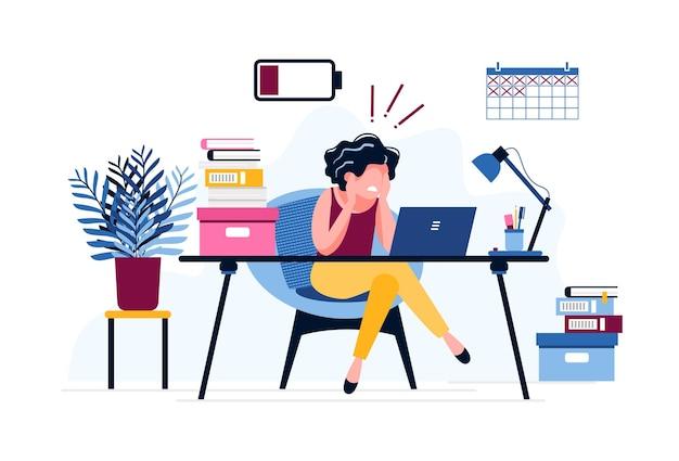 Impiegato di concetto femminile frustrato. donna esausta stanca dell'enorme quantità di lavoro con una batteria scarica. scadenza. stress, depressione sul lavoro. illustrazione vettoriale. concetto di burnout sul posto di lavoro.