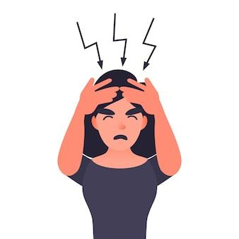 Donna frustrata con mal di testa