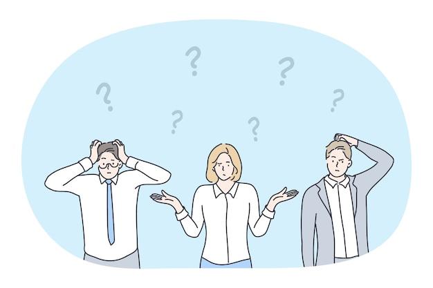 Frustrazione, crisi aziendale, dubbio, sfida, non avendo concetto di idea. personaggi dei cartoni animati di giovani uomini d'affari impiegati in ufficio in piedi ed esprimendo frustrazione per la situazione difficile sul lavoro