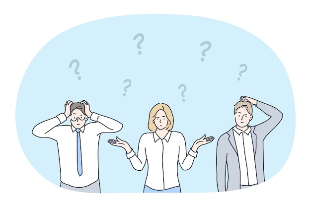 Frustrazione, crisi aziendale, dubbio, sfida, non avendo concetto di idea.