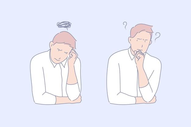 Illustrazione di concetto di frustrazione e depressione