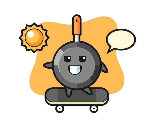 Il personaggio della padella cavalca uno skateboard