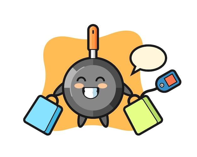 Fumetto della mascotte della padella che tiene un sacchetto della spesa