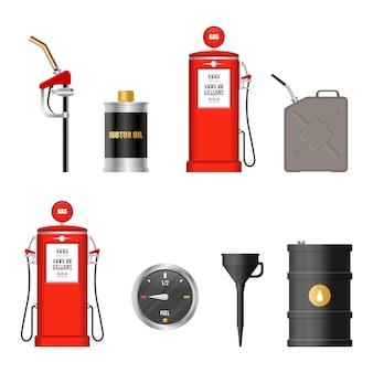 Illustrazione dell'attrezzatura del combustibile isolata su fondo bianco