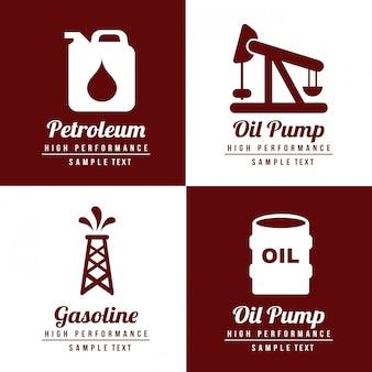 Icone del combustibile delle icone del combustibile sopra l'illustrazione bianca e marrone di vettore del fondo