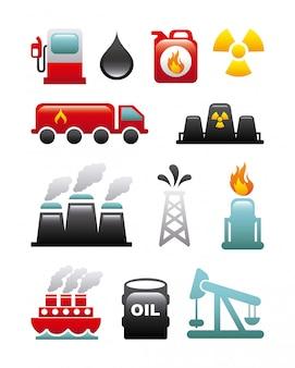 Icone di carburante sopra illustrazione vettoriale sfondo bianco