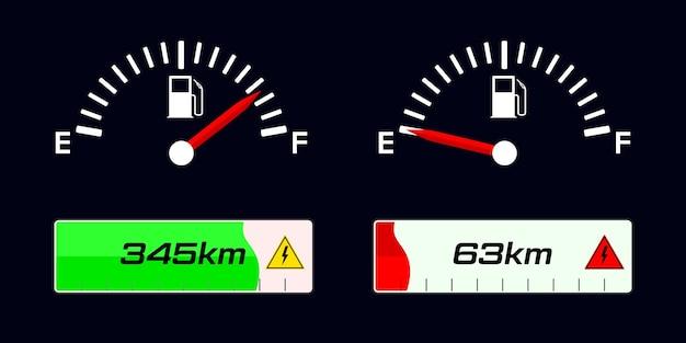 Indicatore di livello carburante. indicatore livello carburante. indicatore di carica del veicolo elettrico.