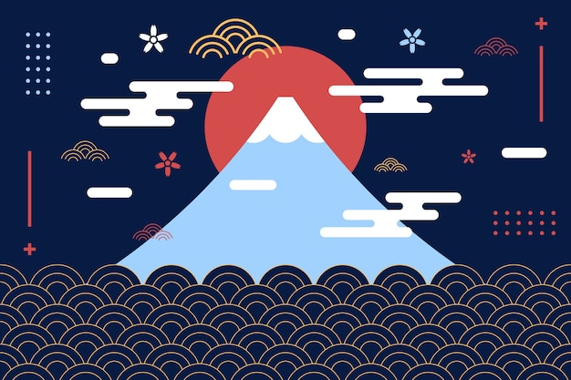 Sfondo montagna fuji in stile giapponese