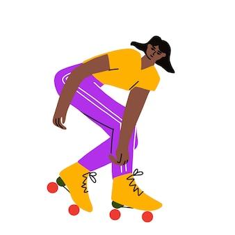 Illustrazione vettoriale di tutto il corpo della ragazza funky che impara a cavalcare sui pattini a rotelle mantenendo l'equilibrio