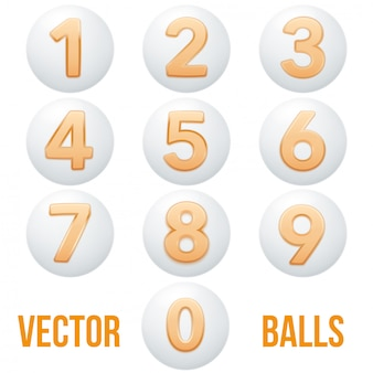 Collezione completa di icone palle con numeri.