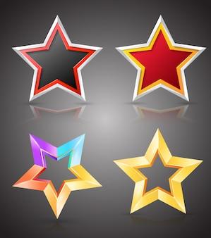 Set di stelle a colori.