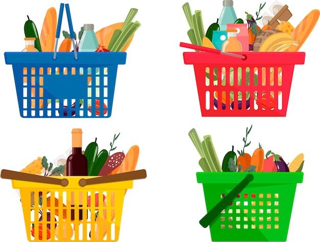 Carrello della spesa diverso completo di icone di prodotti e prodotti alimentari di mercato