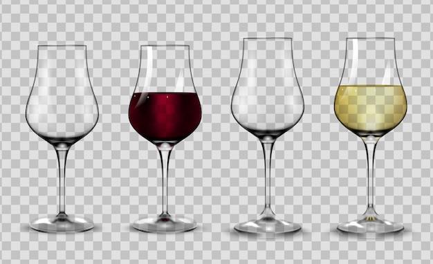 Bicchieri pieni e vuoti per vino bianco e rosso.