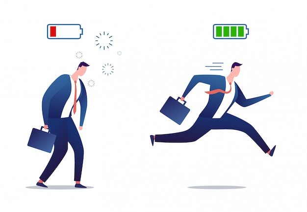 Pieno di energia e uomo d'affari stanco. uomo d'affari stressato oberato di lavoro. persona potente e piatta con carica completa e batteria scarica.