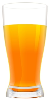 Bicchiere pieno di succo d'arancia fresco. isolato su bianco illustrazione