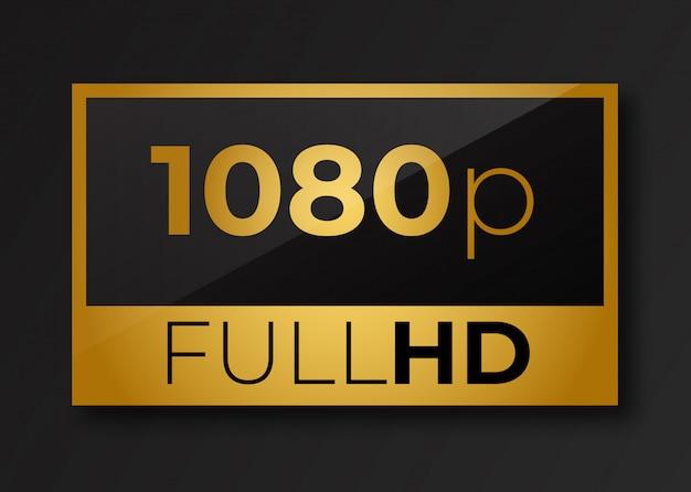Full hd 1080 p simbolo d'oro.