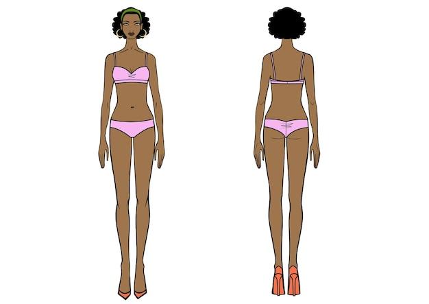 Vista anteriore e posteriore integrale di una donna africana in piedi in costume da bagno