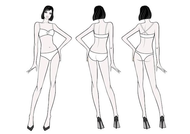 Vista anteriore e posteriore integrale di una donna in piedi in costume da bagno