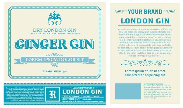 Design dell'etichetta per liquore completo con lati anteriore e posteriore. stratificato