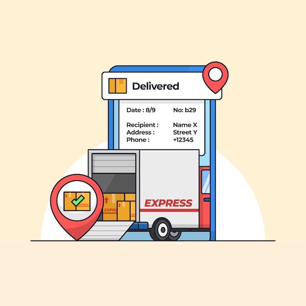 Automobile del camion di consegna della spedizione a pieno carico all'interno dell'illustrazione di vettore dell'app di localizzazione mobile