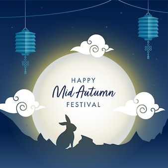 Sfondo blu luna piena con coniglietto sagoma, nuvole e lanterne cinesi appese per happy mid autumn festival.