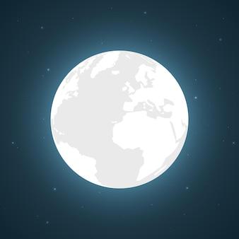 Luna piena e stelle luminose, illustrazione vettoriale.