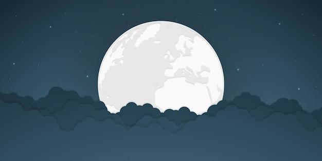Luna piena e stelle luminose con nuvola, illustrazione vettoriale.