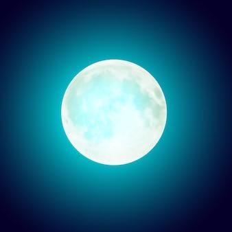Luna piena nel cielo notturno blu scuro
